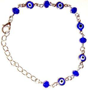 GREEK / TURKISH EVIL EYE BLUE EYES & GEMS Metal Silver Bracelet Wristband 21cm
