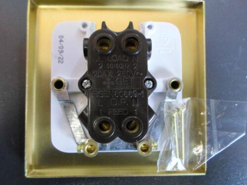 GET Decorative 20A DP Light Switch White Interior Matt Brass Plate Double Pole