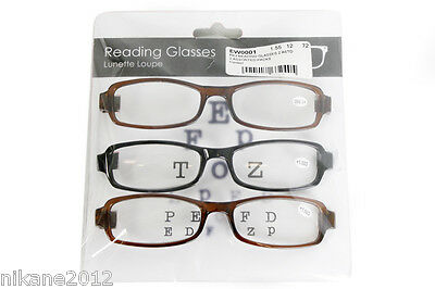 reading glasses spectacles ladies mens 3 pairs  new  1.5 2.0 2.5 3.0 4.0 3.50