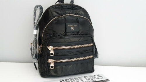 RIVER ISLAND Black Double Zip Front Pocket Quilted Medium Backpack BNWT