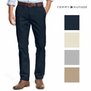 Tommy-Hilfiger-Mens-Chino-Pants-Slim-Fit-Bottoms-Flat-Front-Gray-Navy-Khaki