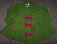 Jelly The Pug Green/pink Tiered Twirly Swing Fleece Dress Coat 10 Girls