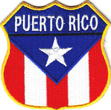 PUERTO RICO FLAG SHIELD, MOTORCYCLE, BIKER, VEST/Iron On Embroidered Patch