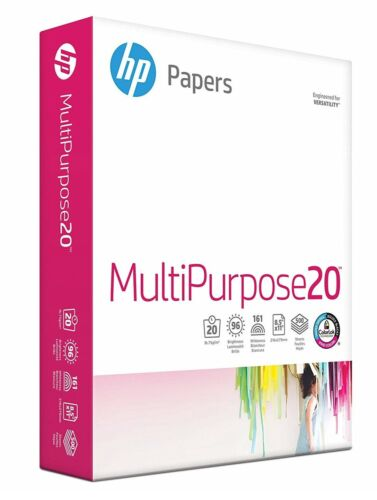 HP Printer Paper Multipurpose 8.5x11 Paper Letter Size 20lb 96 Bright 500 Sheets