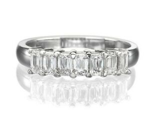 d126f960c1241 Details about 1.00CT Emerald Cut 7 Stone Diamond Wedding Band Ring Solid  14K White Gold Over