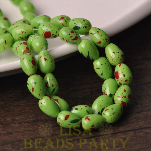 New 10pcs 14X10mm Teardrop Colorized Dots Loose Glass Spacer Beads Green