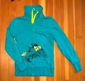 The-North-Face-women-039-s-size-S-Green-Blue-Yellow-Hawaiian-Zip-Up-Hooded-Jacket