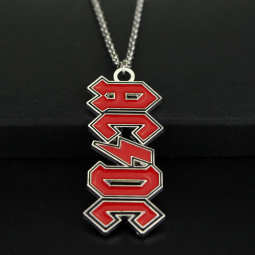 New AC DC Hells Bells Red Enamel Music Charm Necklace Pendent Jewellery Gift Bag