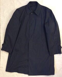 Vintage-London-Fog-Maincoats-Mens-Trench-Coat-Sz-40-Reg-Navy-Blue-Dress-Jacket