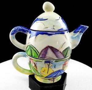 Studio-Art-Ceramica-Sb-Firmado-Rainy-Day-Escena-16-8cm-Apilados-Tetera-Juego