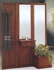 Ingresso parete in legno massello noce classico specchio - Attaccapanni con specchio ...