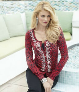 NEW WOMENS SIZE XL RED ANIMAL PRINT SEQUIN CARDIGAN SWEATER ...