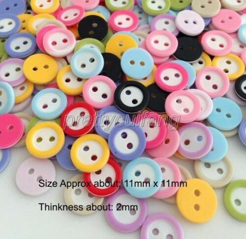 500pcs Mixed Color 2 Holes Round Resin Sewing Buttons Scrapbooking 11mm Prk512