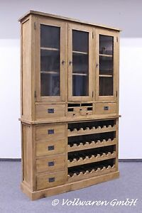 teak weinschrank se22 2 teakholz antik massiv 220x140 buffet vitrine weinregal ebay. Black Bedroom Furniture Sets. Home Design Ideas