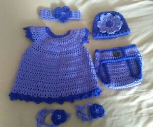 2ddd7fef313f4 Details about New - Newborn Baby Clothes Lot Dress diaper cover barefoot  sandals hat headband