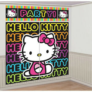 Hello Kitty Neon Tween Wall Poster Decoration 5pc Birthday Party