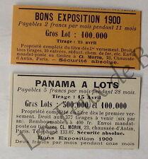 Publicité ancienne Bons exposition 1900, Panama, 1899