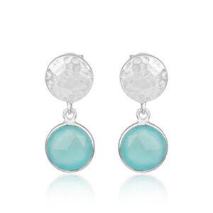 Aqua-Chalcedony-Gemstone-925-Sterling-Silver-Hammered-Design-Drop-Earrings