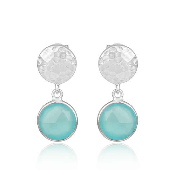 Aqua Chalcedony Gemstone 925 Sterling Silver Hammered Design Drop Earrings