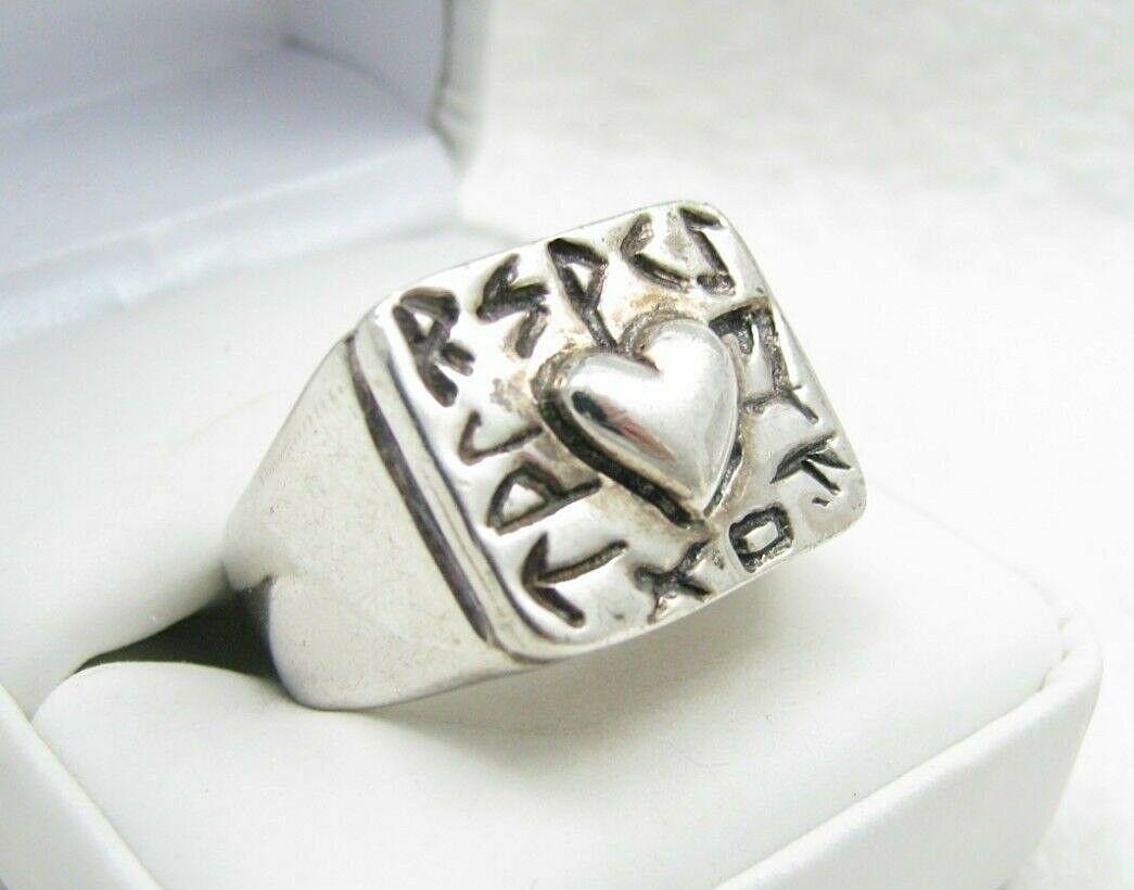 Robert Lee Morris RLM Studio Sterling Respect Repousse Heart Ring Sz 7 - 31 gram