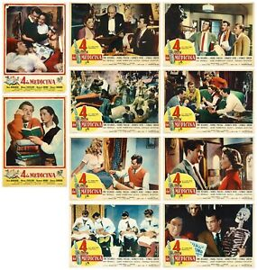 4 IN MEDICINA FOTOBUSTE 10 PZ. DIRK BOGARDE 1954 DOCTOR IN THE HOUSE LOBBY CARD