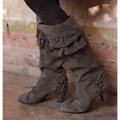 Anthropologie Due Farina ruffled suede boots 8