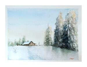Original-Aquarell-Einzelstueck-Unikat-Gemaelde-impressionistisch-Winter-Schnee