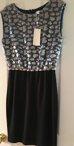 Erin-Fetherston-Black-Blue-Dress-Party-Evening-Wedding-Cruise-Sequin-Size-6-NWT
