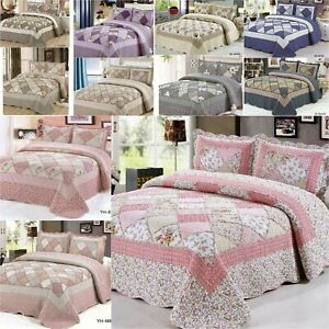 Bedspread-3-Piece-Patchwork-Cotton-Rich-Bed-Throw-Vintage-Set-Double-King-Size