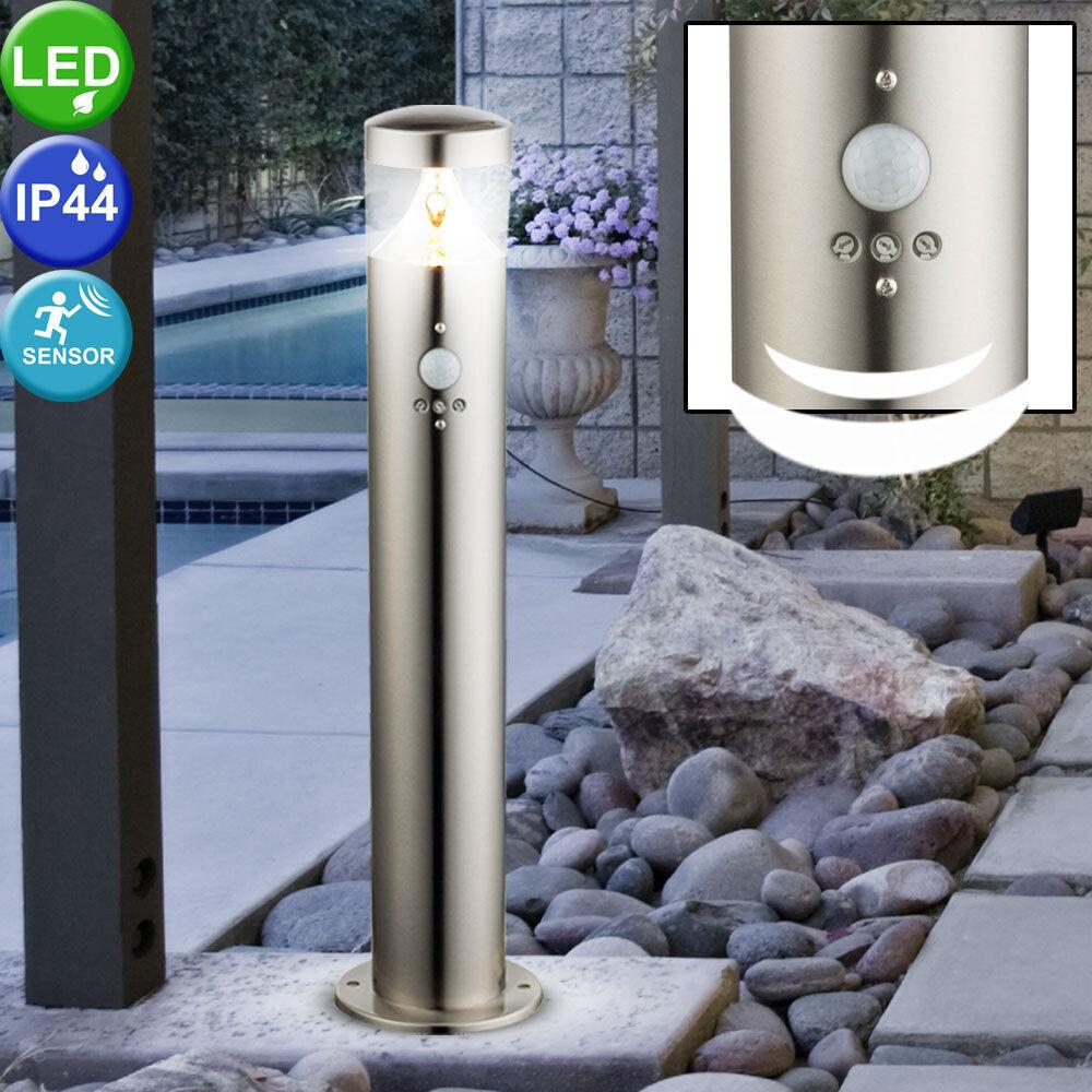 LED Lámpara De Pie Luz Exterior con Detector de Movimiento Lámpara de ruta de jardín de acero inoxidable
