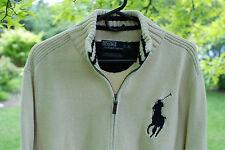 Polo Ralph Lauren Mens Ivory LS Cardigan Full Zip Cotton Sweater Big Pony XL EUC