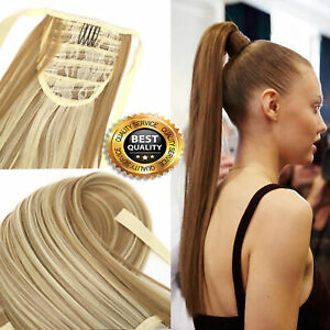 UK-Extra-Long-18-26-034-Thick-Wrap-Clip-in-Ponytail-Hair-Extensions-Brown-Blonde-DN