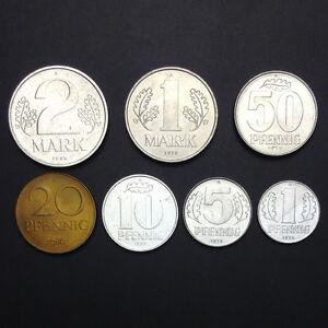 D-4-East-Germany-Set-7-Coins-1-5-10-20-50-Pfennig-1-2-Mark-1973-1986-UNC