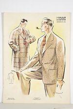"""Illustration MODE MASCULINE pour """"l'HOMME"""" 1954 printemps-été manteau veste"""