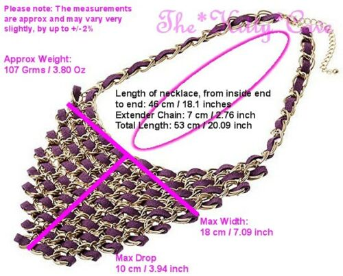 Statement Gold Chain Mail Woven Faux Suede Ribbon Catwalk Triangle Bib Necklace
