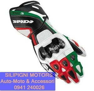 GUANTO-IN-PELLE-MOTO-RACING-SPIDI-CARBO-3-A126-Nero-Verde-Tricolore-Italy-Carbon