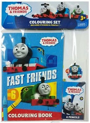 Thomas /& Friends The Tank Engine COLOUR IN Colouring Set Stickers /& Pencils