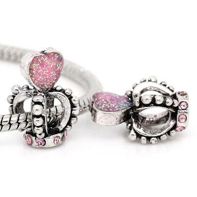 1PC JM European Charm Beads Enamel Pink Heart W/ Rhinestone Crown For Bracelets