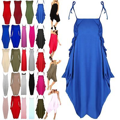 Women Lagenlook Layer Italian Drape Ladies Strappy Peplum Frill Baggy Midi Dress