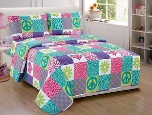 Fancy Linen 3pc Sheet Set Girls Safari Pink Purple Peace Sign Twin Size New