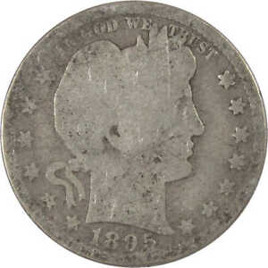 1895 S Barber Quarter AG About Good 90% Silver 25c US Type Coin Collectible