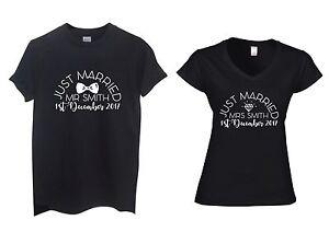 Paire-de-Just-Married-Mr-et-Mme-Nom-Personnalise-T-shirts-Mariage-Lune-de-miel