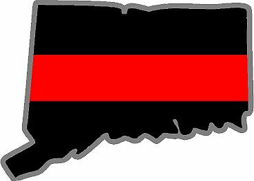 """4/"""" Connecticut CT State Thin RED Line Firefighter IAFF Fire Decal Sticker"""
