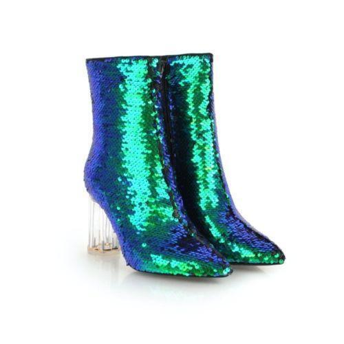 New Ladies Womens Fashion Glitter Sequin Sequin Sequin Clear Block Heel Ankle Boots Club shoes 5be6f8
