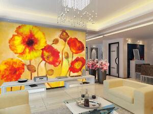 3D-Orange-Flowers-821-Wall-Paper-Murals-Wall-Print-Wall-Wallpaper-Mural-AU-Kyra