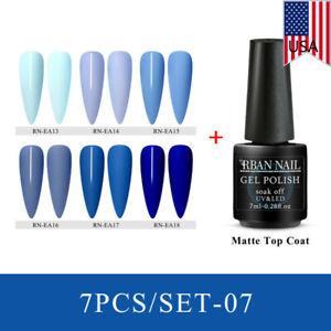 RBAN-NAIL-Nail-Art-Gel-Blue-Color-Polish-Soak-off-UV-LED-Manicure-Varnish-Set