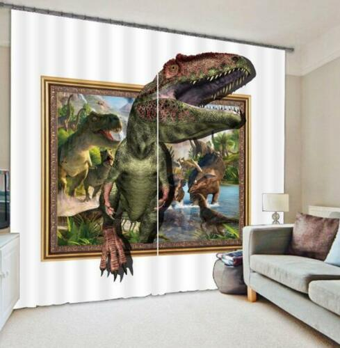 3D River Dinosaurs Blockout Photo Curtain Printing Curtains Drapes Fabric Window