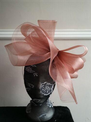 light brown fascinator millinery burlesque headband wedding hat hair piece