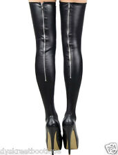 Sexy Slutty Zipper Stockings Lingerie Faux Leather Hot Adult Fetish Thigh Highs