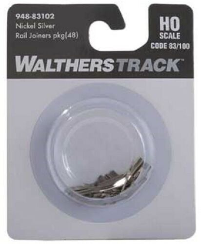 HO Scale Walthers 948-83102 Code 83//100 Nickel-Silver Rail Joiners pkg 48